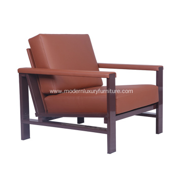 Strong Metal Frame Leather Armchair